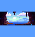 cave with crystals and view to lake and mountains vector image vector image