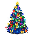 christmas tree with glowing garland glass baubles vector image