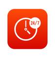 clock 24 7 icon digital red vector image
