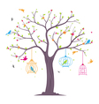 colorful Birds with tree and birdcage vector image vector image
