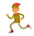 elf in cone hat and striped leggings goes skating vector image