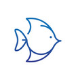 exotic fish marine life thick line blue vector image vector image