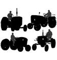 Farmer Tractor Silhouette vector image vector image