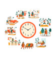 female routine lifestyle activities temporal vector image vector image