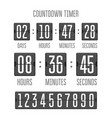 flip countdown clock counter timer on white vector image vector image