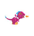 funny fire-breathing dragon with long tail short vector image vector image