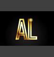 gold alphabet letter al a l logo combination icon vector image vector image