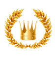 golden laurel wreath and crown vector image