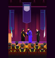 graduation girl at podium vector image