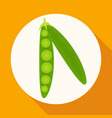 icon green pea pod on white circle with a long vector image