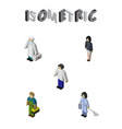 isometric human set of medic male housemaid and vector image vector image
