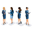 isometric set business lady with gadgets vector image