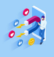 isometric social media likes and follows or vector image vector image
