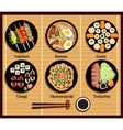Japanese Cuisine Set Dishes Flat Style vector image vector image