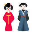 japanese man and woman folk art maiden character vector image vector image