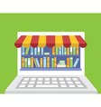 library of books for read in laptop vector image
