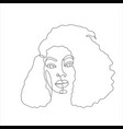 line art woman face drawing black woman afro vector image vector image