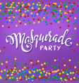 masquerade party banner white paper lettering vector image vector image