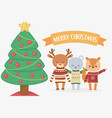 merry christmas celebration bear squirrel and deer vector image vector image