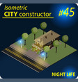 modern isometric building in night light vector image vector image