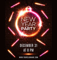 neon new year party celebration poster template vector image vector image