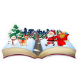 open book christmas theme vector image