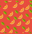 orange lemon on red background seamless pattern vector image vector image