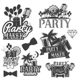 party maker set of emblems badges vector image vector image