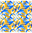 pattern of mustard and blue doodles and curls in vector image