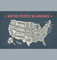 Poster map united states of america with state