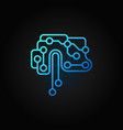 printed circuit board brain blue outline vector image vector image