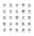 project management line icons set 24 vector image vector image