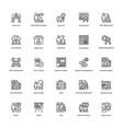 project management line icons set 24 vector image