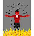 Red Devil in hell Funny demon and bat Satan with vector image