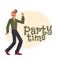 Red haired man in 1970s style clothes with beehive vector image vector image