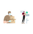 safe delivery man bring package box carton wearing vector image
