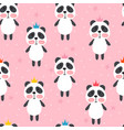 seamless pattern with cute cartoon little panda vector image vector image