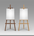 set of wooden brown sienna easels with mock vector image vector image