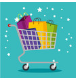 shopping bags inside cart to special sale vector image