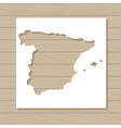 stencil template of Spain map on wooden background vector image vector image