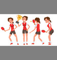 table tennis young woman player twists the vector image vector image