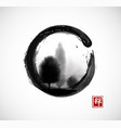 trees in fog in black enso zen circle on white vector image vector image
