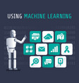 using machine artificial learning flat vector image vector image