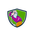 Vintage Golfer Swinging Club Teeing Off Shield vector image vector image