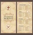 vintage grunge menu template vector image vector image
