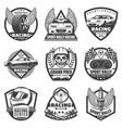 vintage monochrome car racing labels set vector image