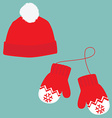 Winter hat and mittens vector image vector image
