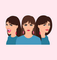 woman different emotions happy scared angry sad vector image vector image