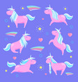 pink unicorn and rainbow vector image