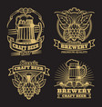 vintage craft classic beer labels on black vector image